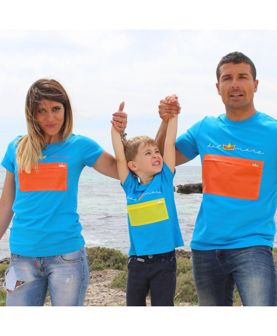 Family Tris T-shirt - Azzurro
