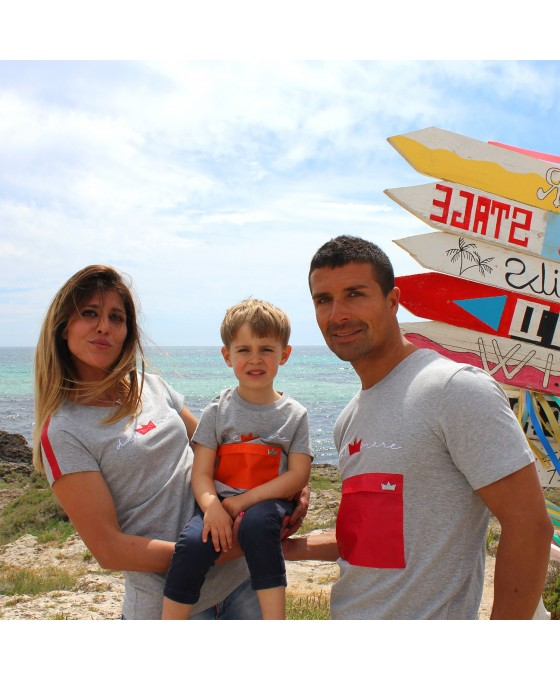 Family Tris T-shirt - Grigio