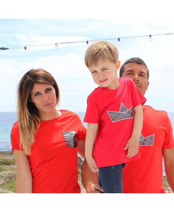 Family Tris T-shirt - Rosso
