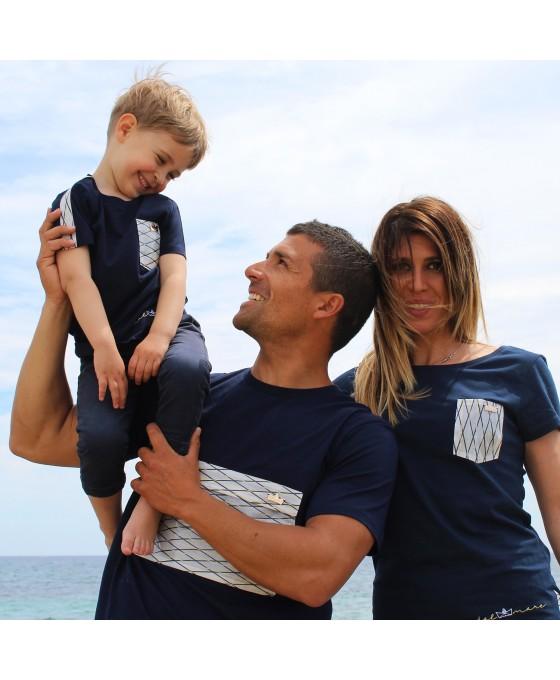 Family Tris T-shirt - Blu
